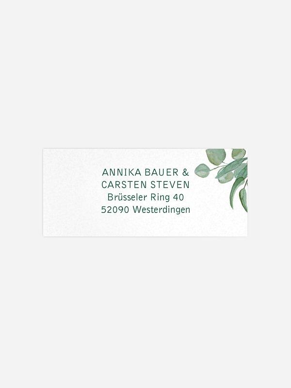 Absenderaufkleber Hochzeit Eucalyptus Premium