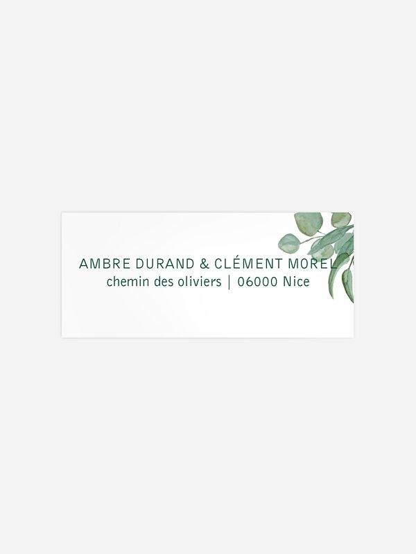 Étiquette expéditeur mariage Eucalyptus Premium