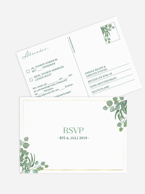 Antwortkarte Hochzeit Eucalyptus Premium