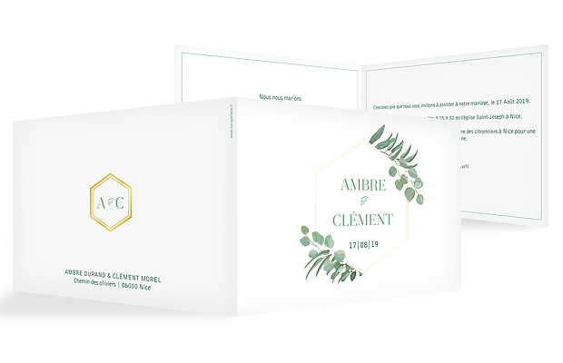 Faire-part mariage Eucalyptus Premium