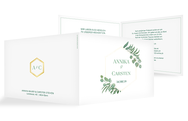 Hochzeitseinladung Eucalyptus Premium