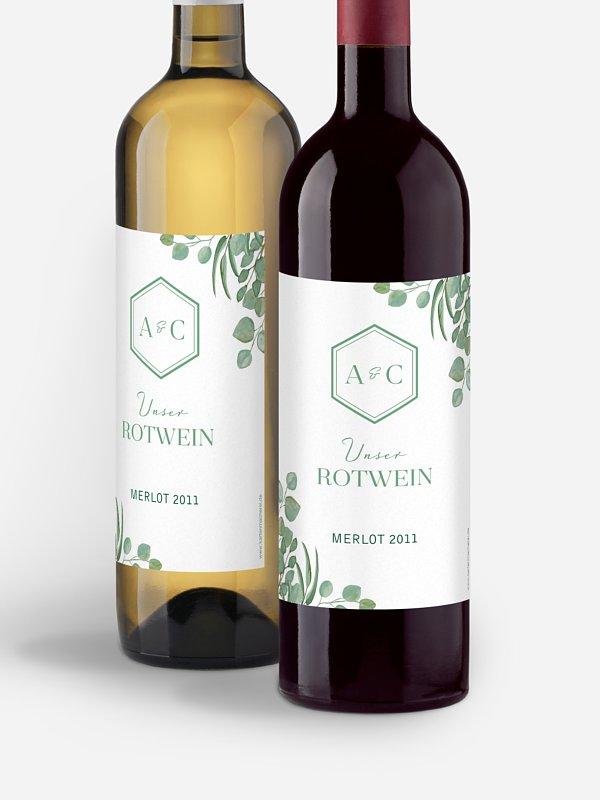 Flaschenetikett Hochzeit Eucalyptus Premium