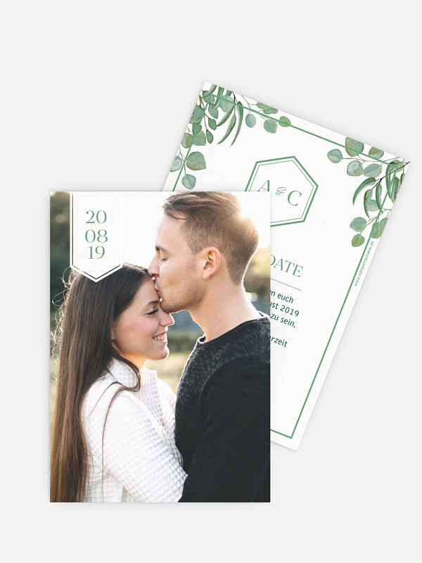 Save-the-Date Karte Eucalyptus Premium