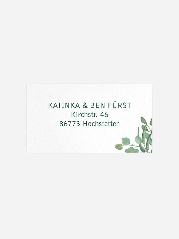 Empfängeraufkleber Hochzeit Eucalyptus Premium