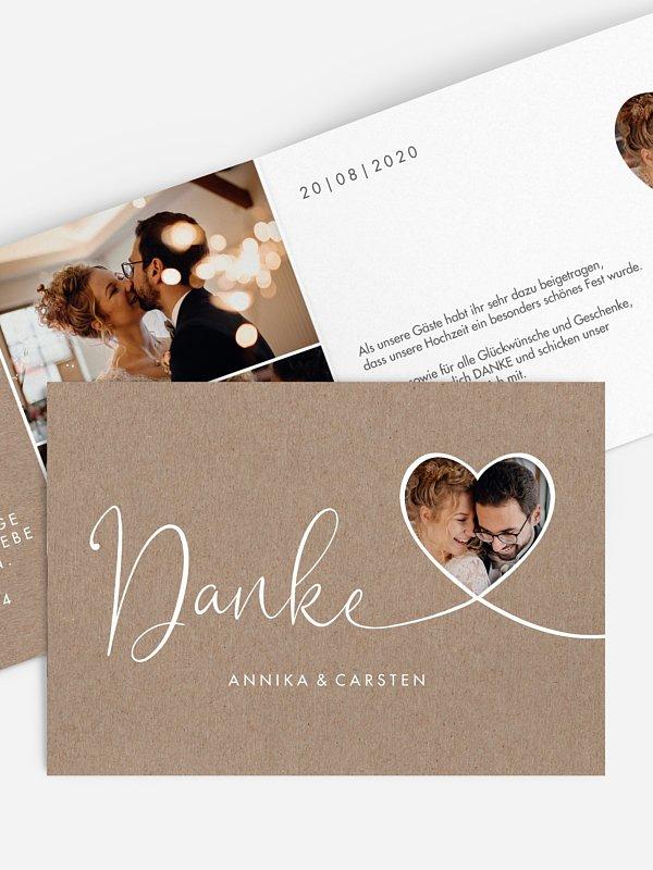Dankeskarte Hochzeit Herzglück (gestanzt)