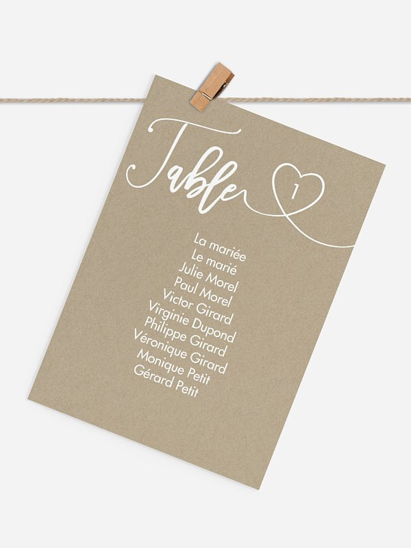 Cartons plan de table mariage Joli coeur