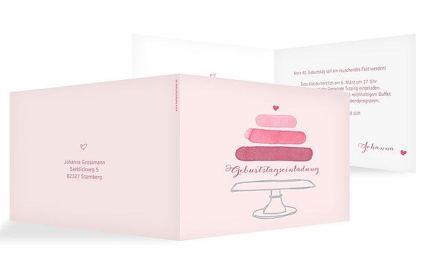Einladung 40. Geburtstag Birthday Cake