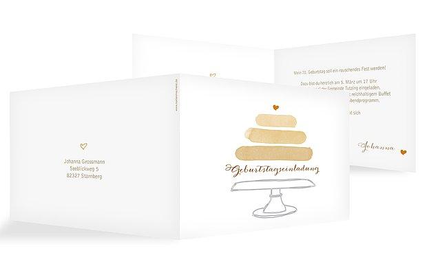 Einladung 70. Geburtstag Birthday Cake