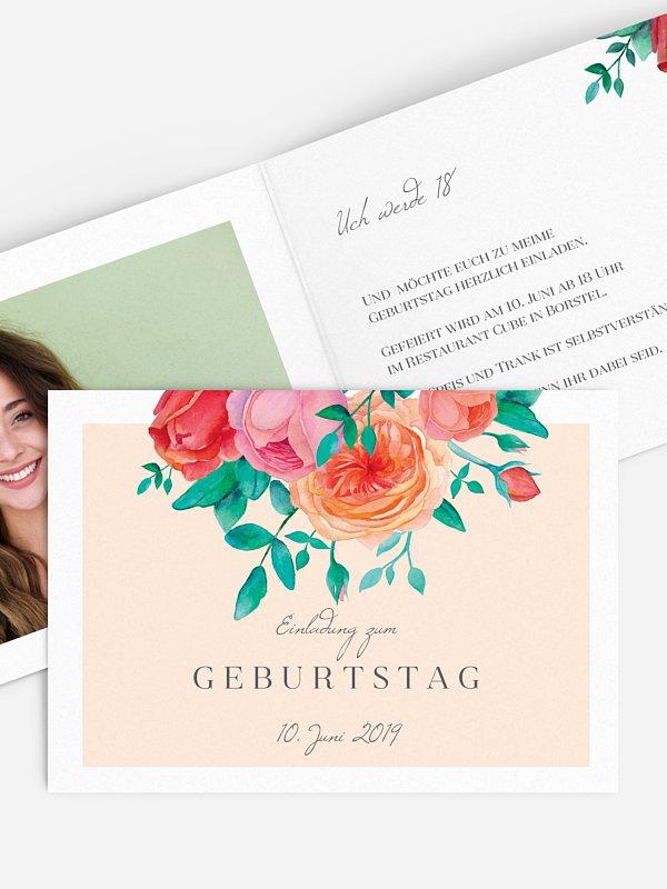Einladung 18. Geburtstag Flower Bouquet