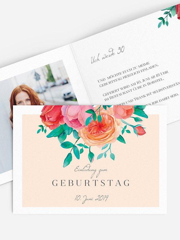 Einladung 30. Geburtstag Flower Bouquet