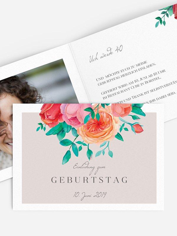 Einladung 40. Geburtstag Flower Bouquet