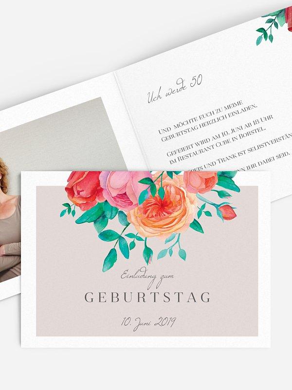 Einladung 50. Geburtstag Flower Bouquet