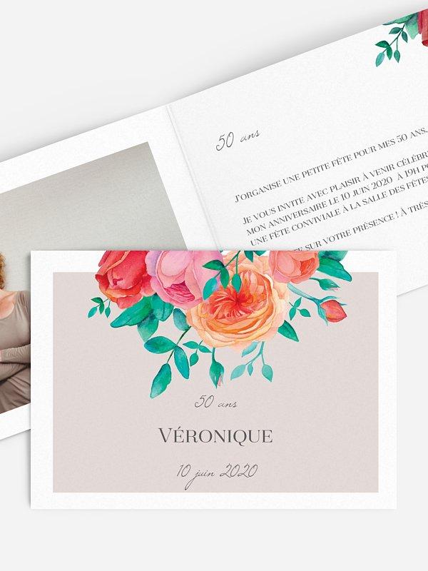 invitation anniversaire 50 Bouquet champêtre
