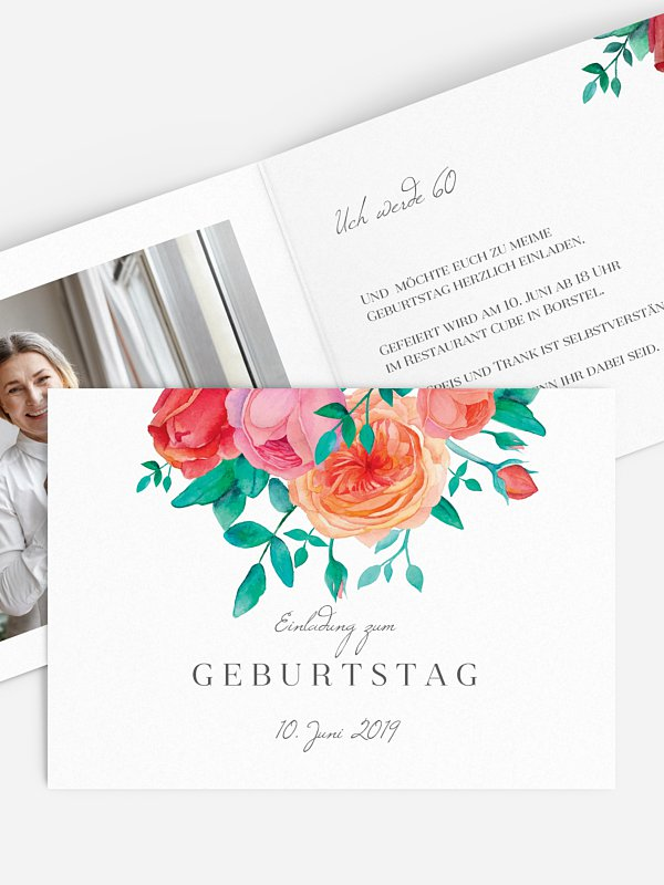 Einladung 60. Geburtstag Flower Bouquet