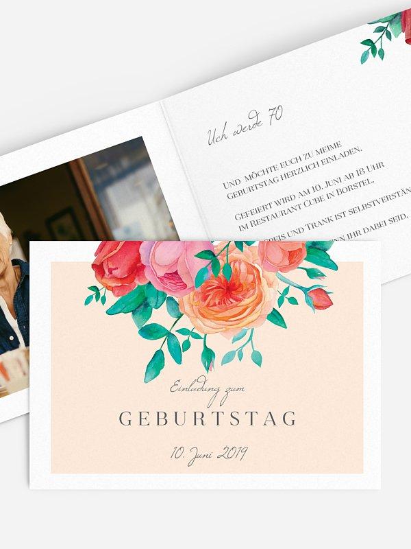 Einladung 70. Geburtstag Flower Bouquet