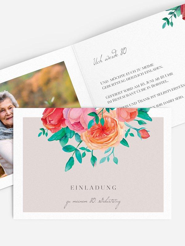 Einladung 80. Geburtstag Flower Bouquet