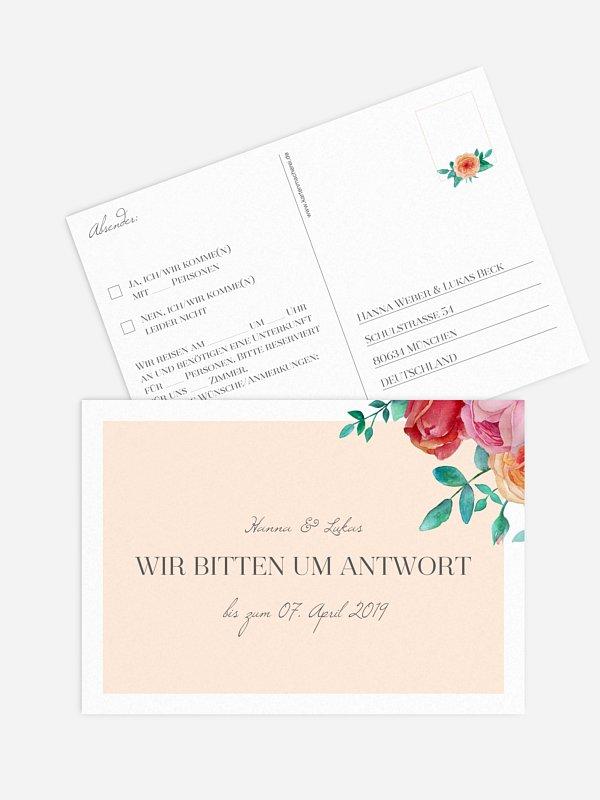 Antwortkarte Hochzeit Flower Bouquet
