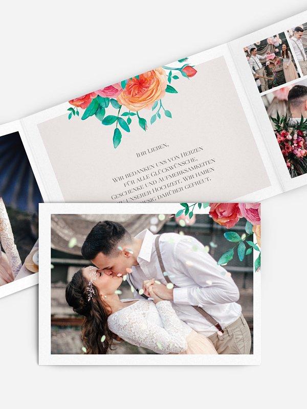 Dankeskarte Hochzeit Flower Bouquet