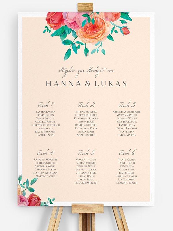 Sitzplan Plakat Flower Bouquet