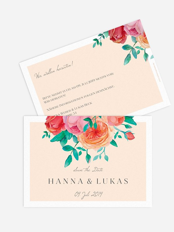 Save-the-Date Karte Flower Bouquet