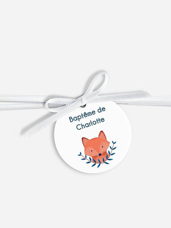 Étiquette avec ruban baptême Fairy fox
