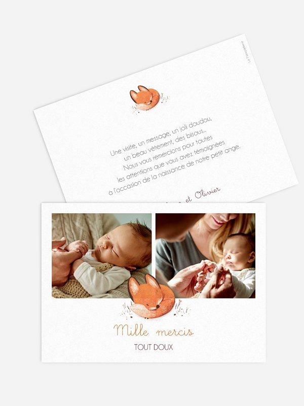 Carte remerciement naissance Petit renard