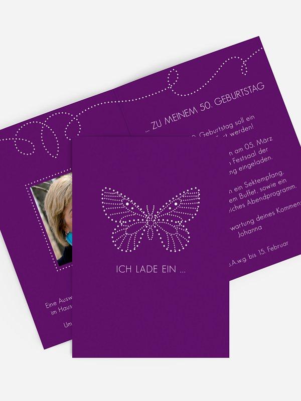 Einladung 50. Geburtstag Schmetterling