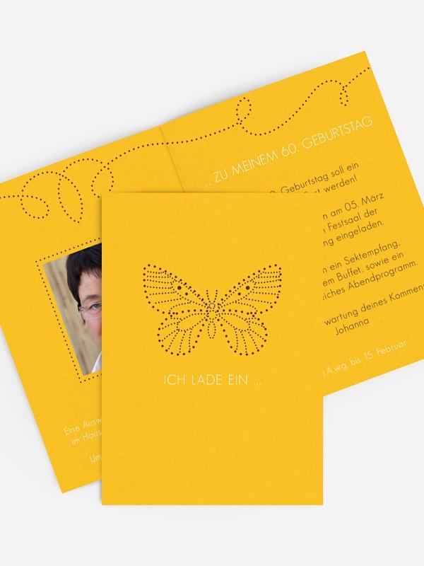 Einladung 60. Geburtstag Schmetterling