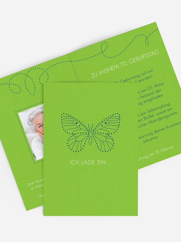 Einladung 70. Geburtstag Schmetterling