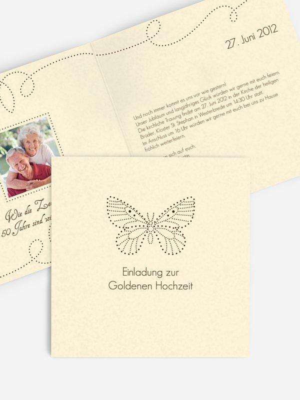 Einladung zur Goldenen Hochzeit Schmetterling