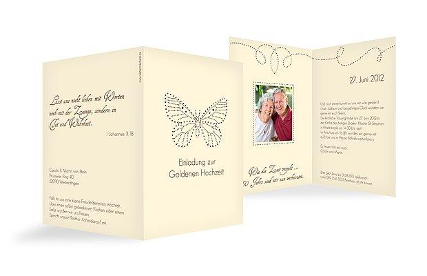 Einladung Goldene Hochzeit Schmetterling