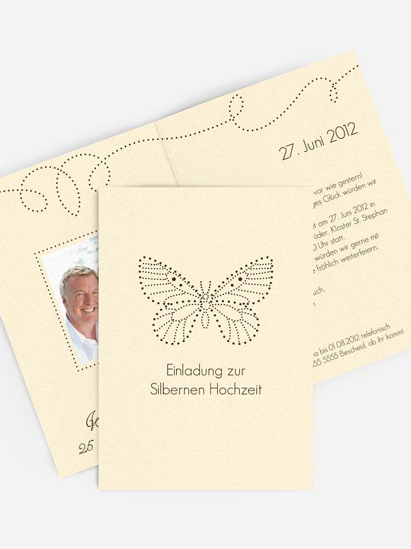 Einladung zur Silberhochzeit Schmetterling