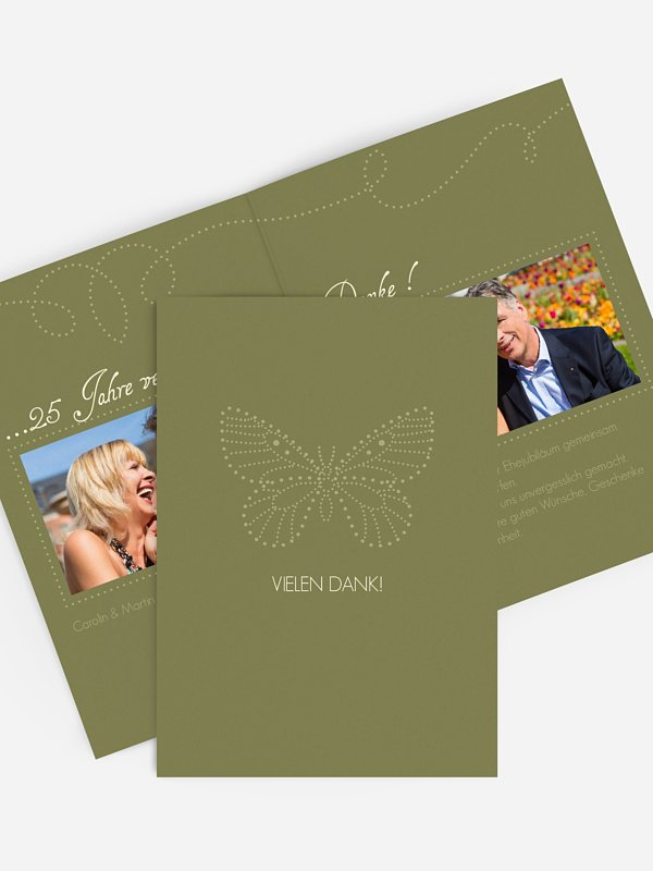 Danksagung zur Silberhochzeit Schmetterling