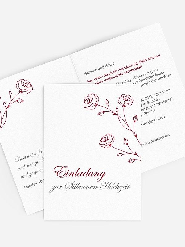 Einladung zur Silberhochzeit Roses