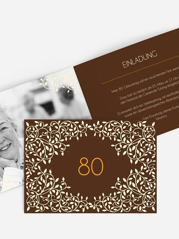 Einladung 80. Geburtstag Romance