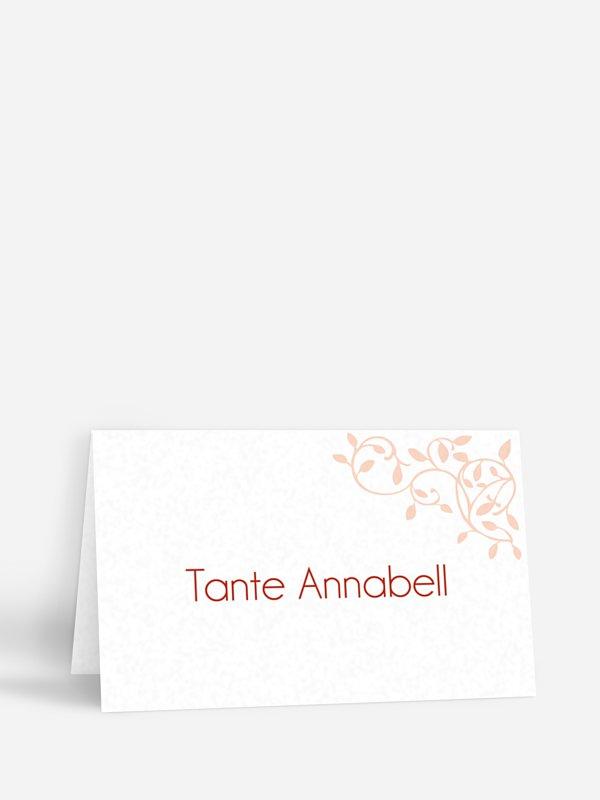 Tischkarte Taufe Romance