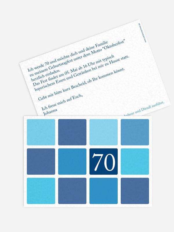 Einladung 70. Geburtstag Squared