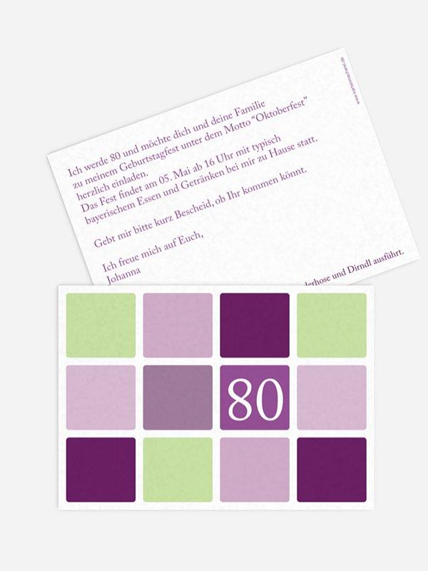 Einladung 80. Geburtstag Squared