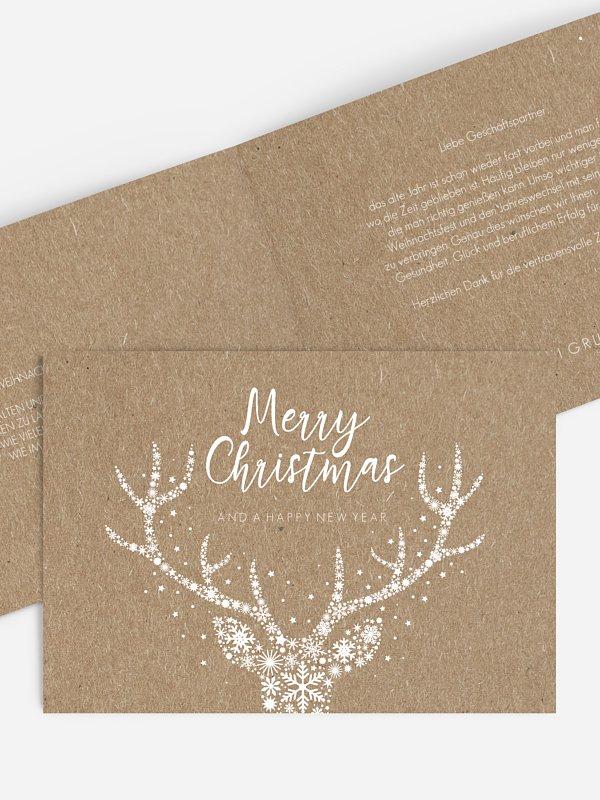 Geschäftliche Weihnachtskarte Sternenpracht Kraftpapier