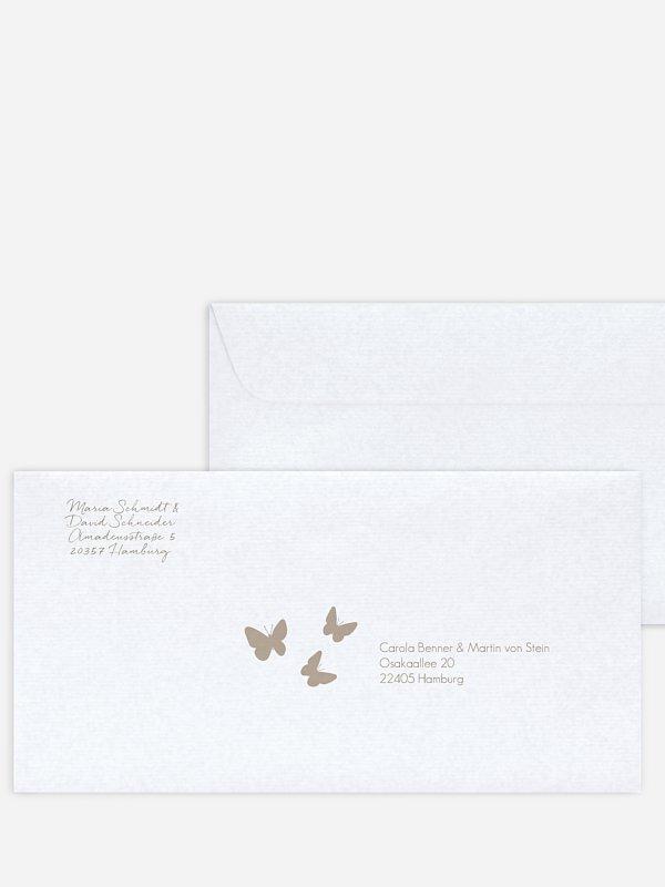 Bedruckter Briefumschlag Hochzeit Herzflattern