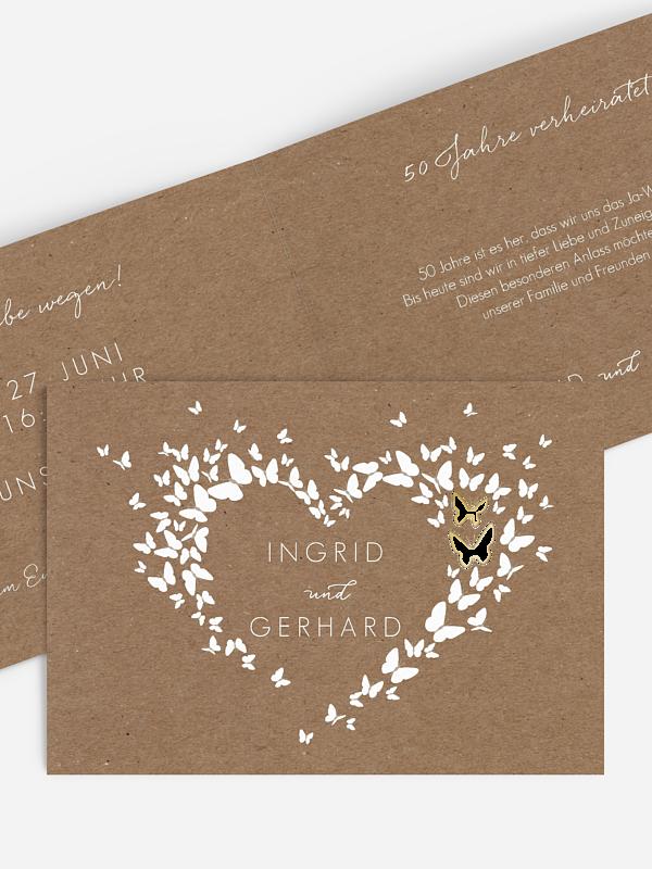 Einladung zur Goldenen Hochzeit Herzflattern