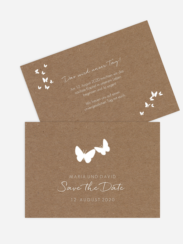 Save-the-Date Karte Herzflattern