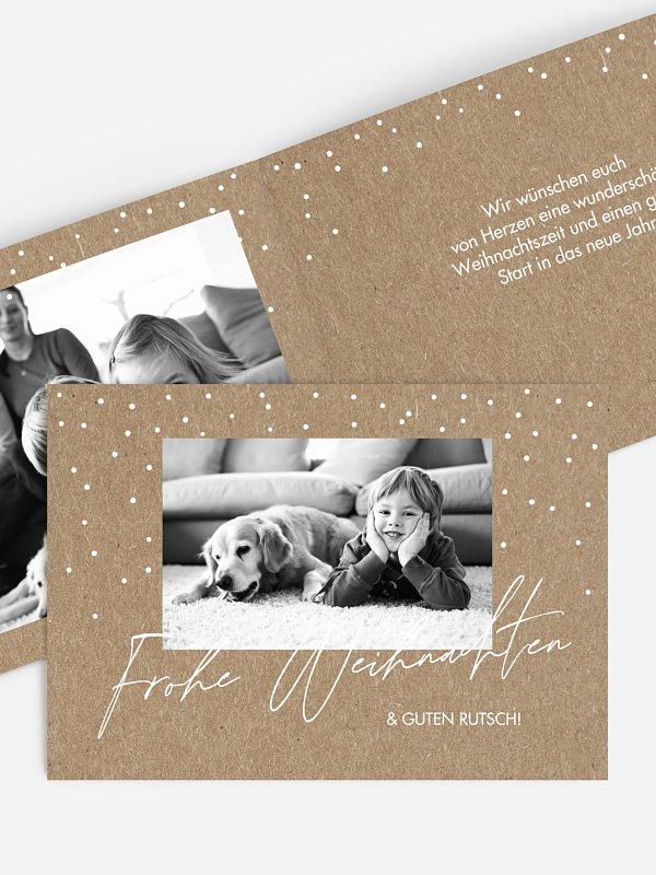 Weihnachtskarte Sparkling Kraftpapier
