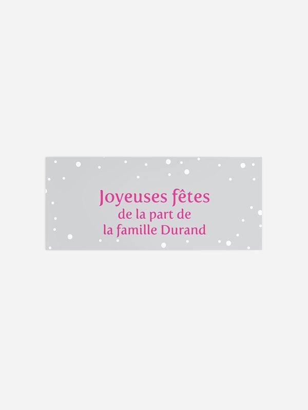Étiquette cadeau Noël Neige