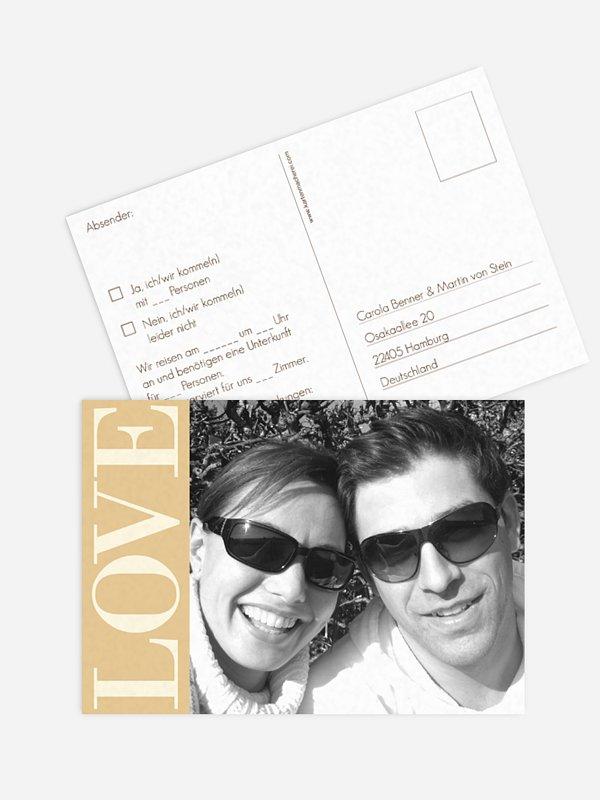 Antwortkarte Hochzeit LOVE
