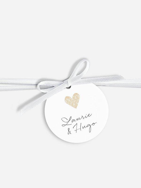 Étiquette avec ruban Portrait chic - dorure