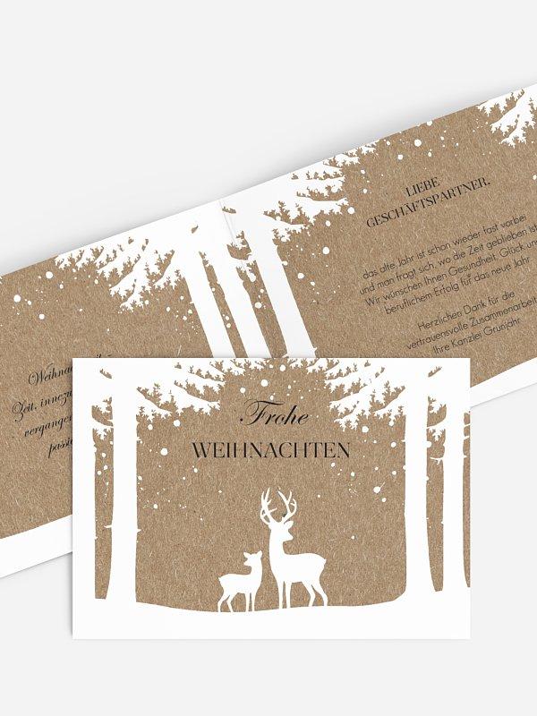 Geschäftliche Weihnachtskarte Winterwald Kraftpapier