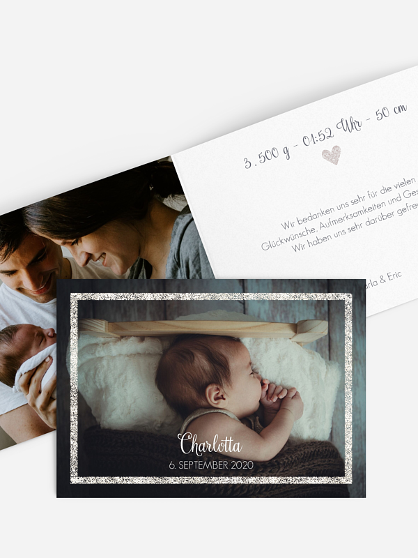 Geburtskarte Golden Frame