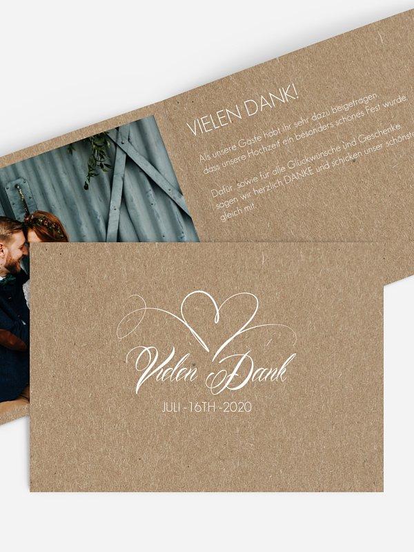 Dankeskarte Hochzeit Herzschlag Kraftpapier