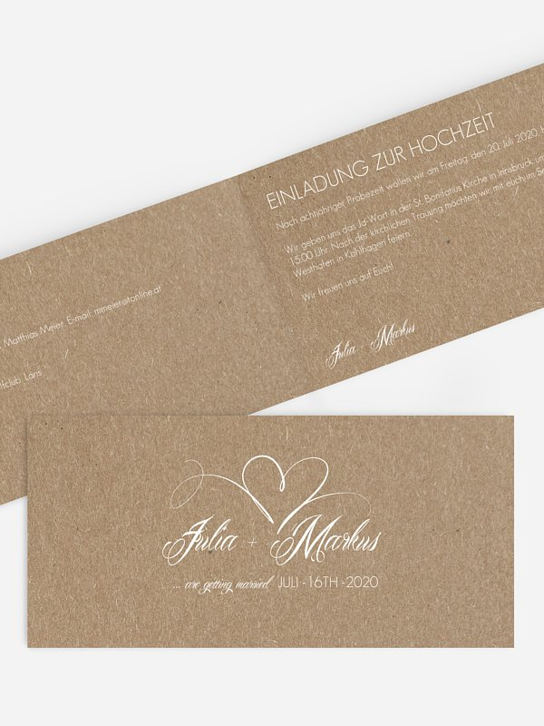 Hochzeitseinladung Herzschlag Kraftpapier